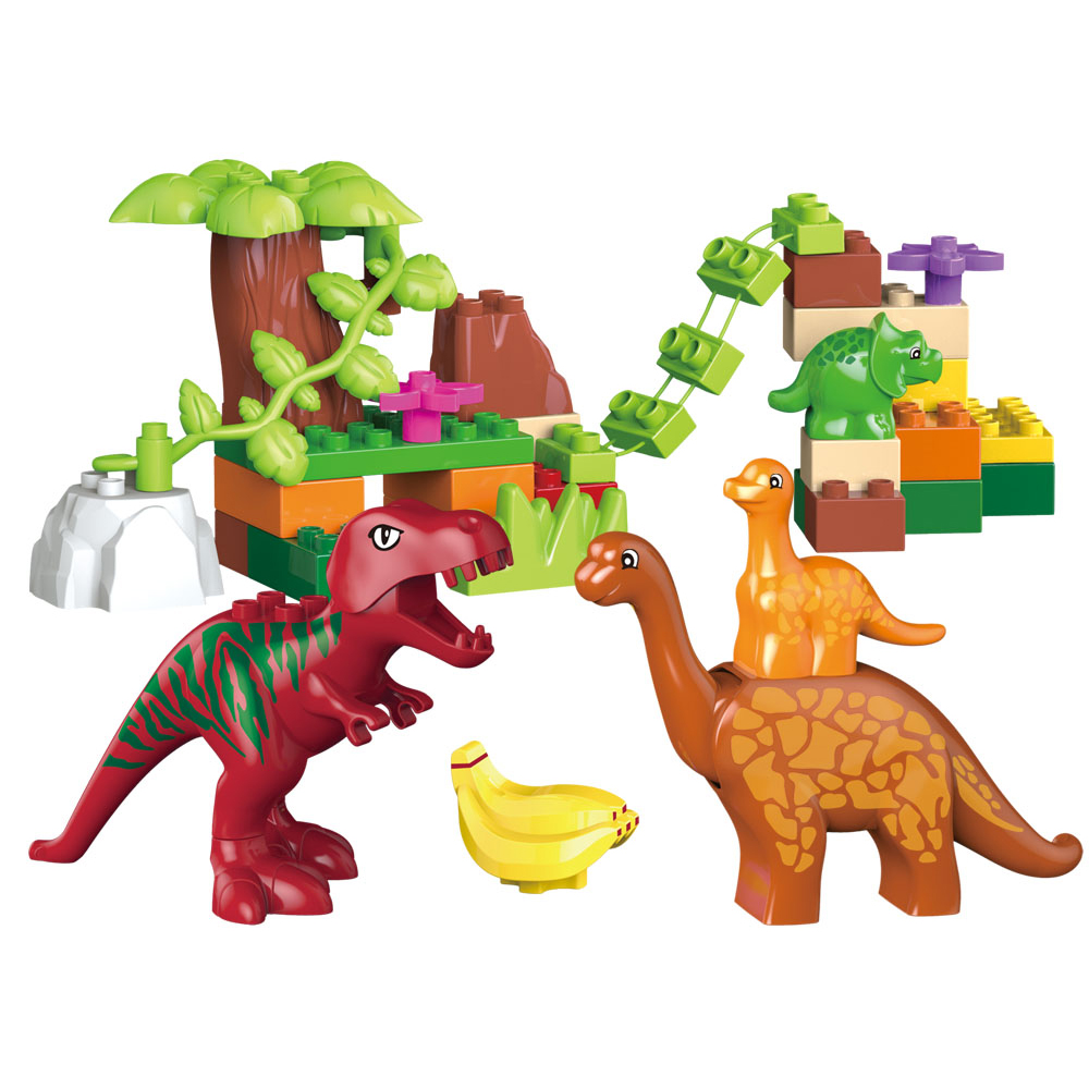 40pcs legoeINGly Duplos Jurassic World Dino Valley Building Blocks Stora partiklar Dinosaur Animal Bricks Leksaker för barn