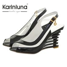 KARINLUNA Sexy Patente de Las Mujeres Superior Cuña de La Jalea de La Flor Sandalias de Verano Las Mujeres Del Dedo Del Pie Abierto Zapatos de Mujer de Tamaño Grande 34-43