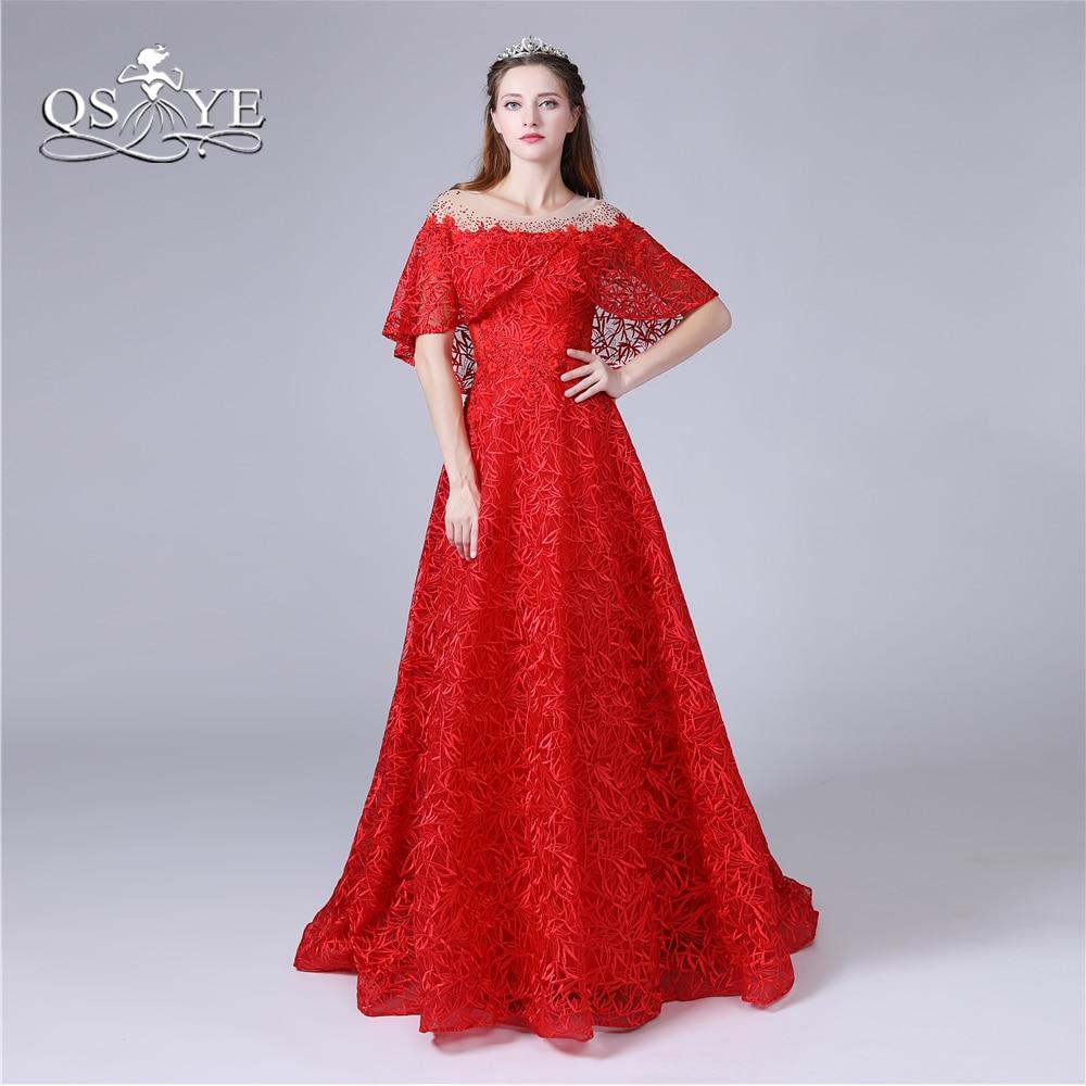 Us 1480 Qsyye 2018 Red Lace Prom Dresses Vestido Longo De Festa Arabia Beaded Cape Sweep Train Vintage Evening Dress Party Gown Custom In Prom