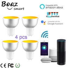 Boaz-EC Smart Wifi Spotlight GU5.3 Led RGBW Bulb Light Dimmable Alexa Echo Google Home IFTTT Tuya 4pcs