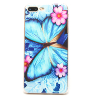 Blue Butterfly Pattern Case For IPhone5 5s 6 6s 6Plus 7 7Plus Hard Back Mobile Phone