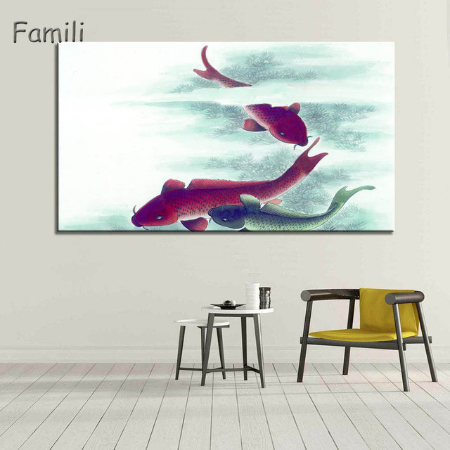 Marvelous 1Piece Koi Fish Wall Art Chinese Painting Wall Art On Canvas Home Decor  Modern Wall Picture