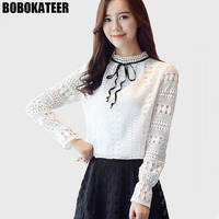 BOBOKATEER Ladies Long Sleeve White Lace Top Blouse Women Office Shirt Blusa Mujer Womens Tops And