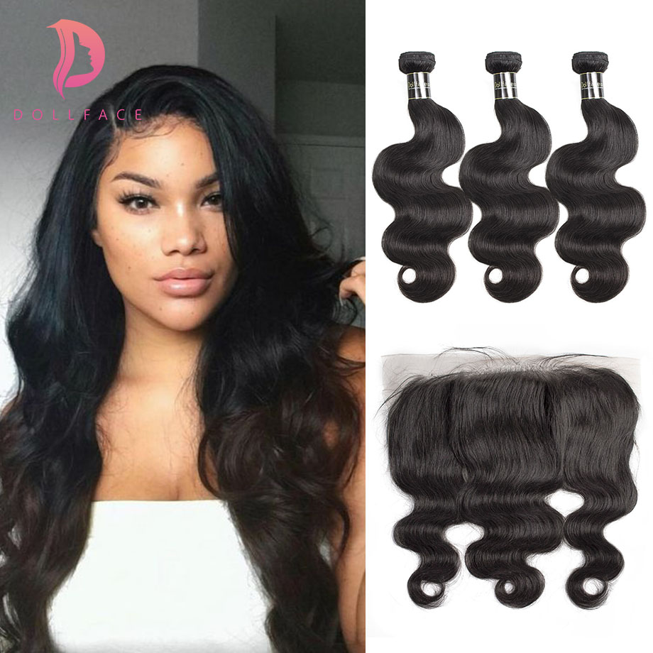 Dollface Indian Hair Weave Bundles With Frontal Body Wave 3 virgin Human Hair Bundles with Lace