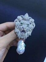 Барокко натуральный пресноводный жемчуг брошь серебро 925 с фианит головы льва Брошь унисекс ювелирные изделия
