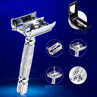 Unscrew Double Sided Shaver Razor All Lloy Made Case With Mirror Double Edge Turret Blade Shaver