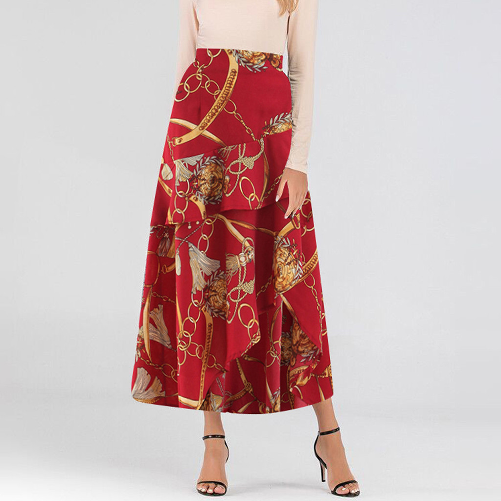 Feitong Bohemian Womens Skirts Vintage Casual Pleated Zipper High Waist Skirt A-line Printing Loose Ruffles Party Ladies Skirts