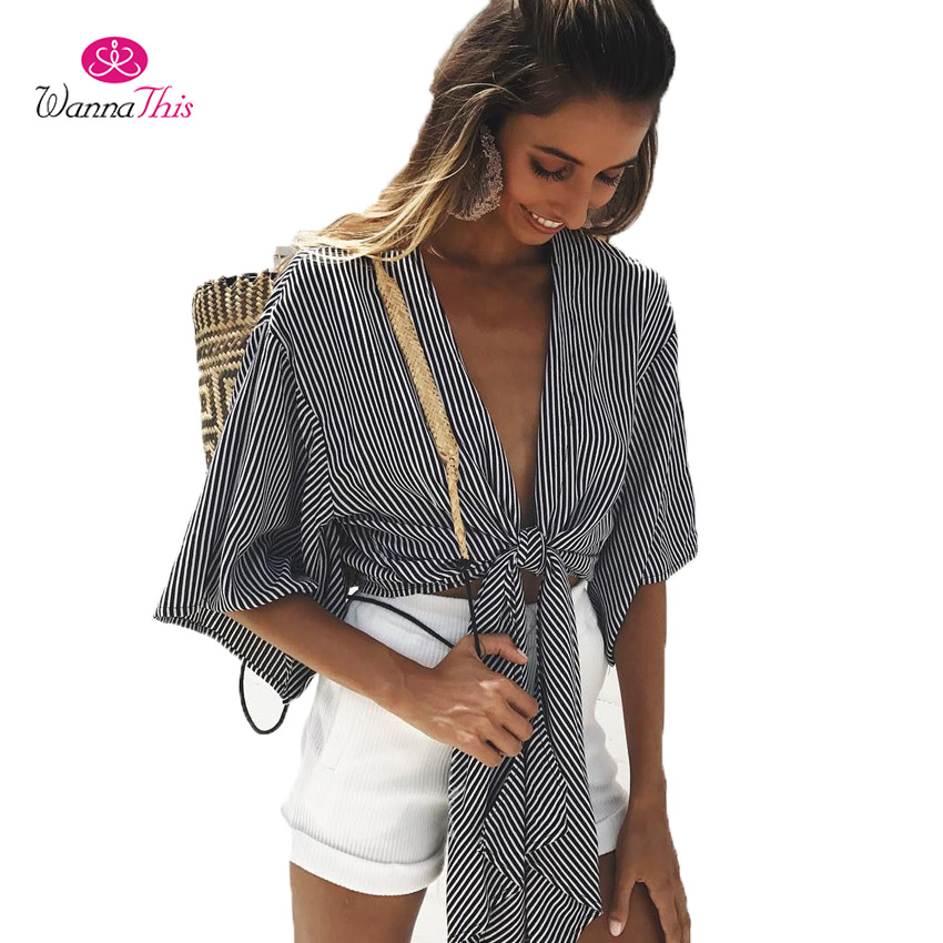 WannaThis New Arrival Summer Sexy Crop Top Women Stripe Half Flare Sleeve Deep V Neck Short Tops Vintage Girl Party Knitted Tees