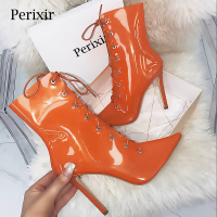 Perixir 2018 New Transparent Boots Clear Chunky heels Mujer Thin heel Women Boots Lady Sexy Party Summer Boots Lace Up boots
