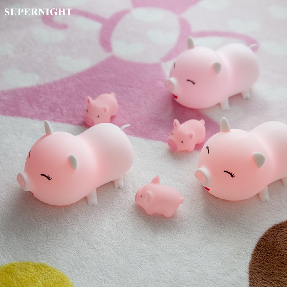 SuperNight Cartoon Pig LED Night Light Touch Sensor 5 Colors Silicone Rechargeable Wireless Bedside Lamp for Baby Kids Children недорого