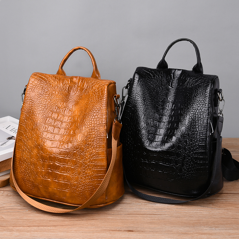 Image 2 - Alligator PU Leather Women Backpack Anti Theft Casual School Backpack For Teenager Girls Large Capacity Multifunction Backpack-in Backpacks from Luggage & Bags