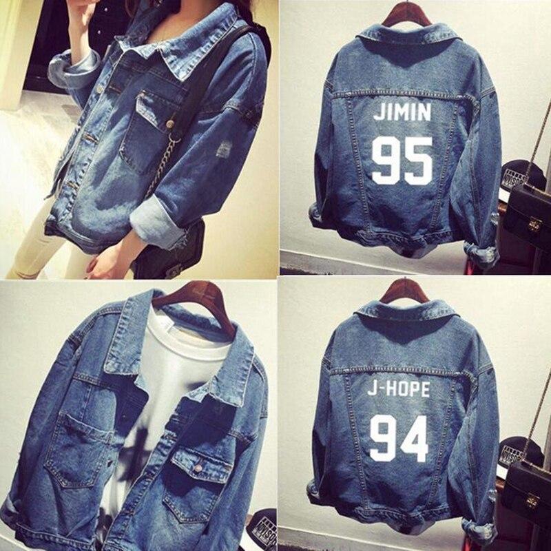 Kpop Bts bangtan ragazzi Jimin jhope jungkook donne bomber inverno Giacca di Jeans