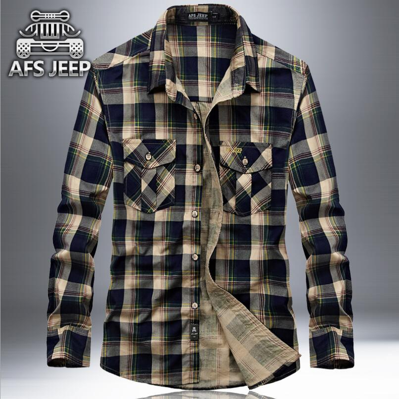 100% Cotton Men Plaid Shirts Original Brand AFS Jeep New 2018 Long Sleeve Shirt For Spring Autumn Military Style Mens Blouses