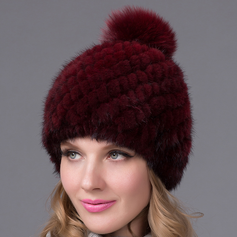 Fur Art Women's Winter Hats Lined Natural Real Fur Cap New Fur Knitted Cap Women Pineapple Hat Genuine Mink Fur Hat Female Winte casio часы edifice efr 538d 1a