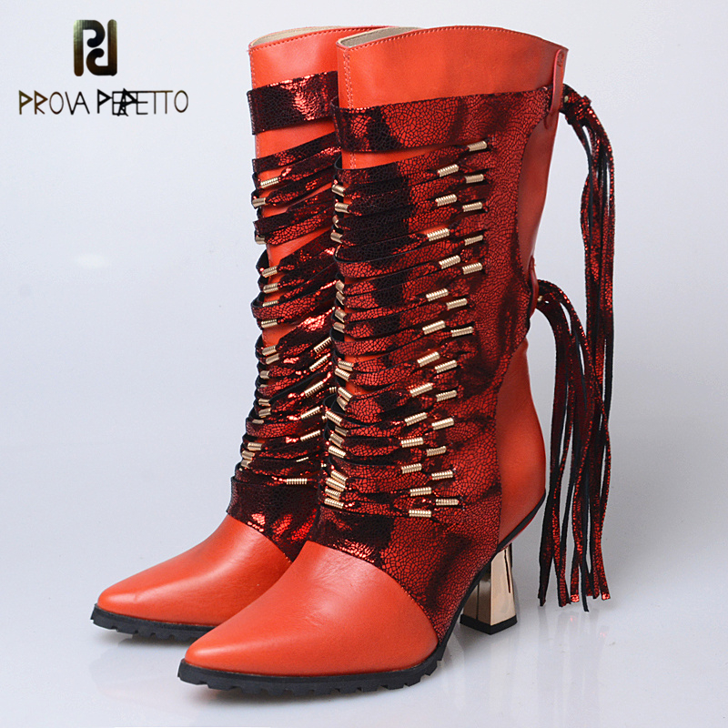 Prova Perfetto Sexy Cow Leather Mid-Calf Women Boots Pointed Toe Hoof Super High Heels Fringe Comfort Handmade Boots For Women ethnic style fringe and criss cross design mid calf boots for women