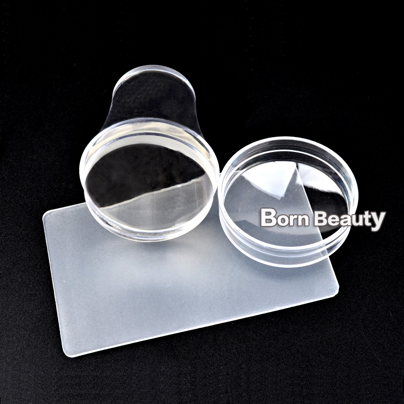 Ny Design 4cm Clear Jelly Silicone Nail Stamping Stamper Scraper Sæt - Negle kunst - Foto 2