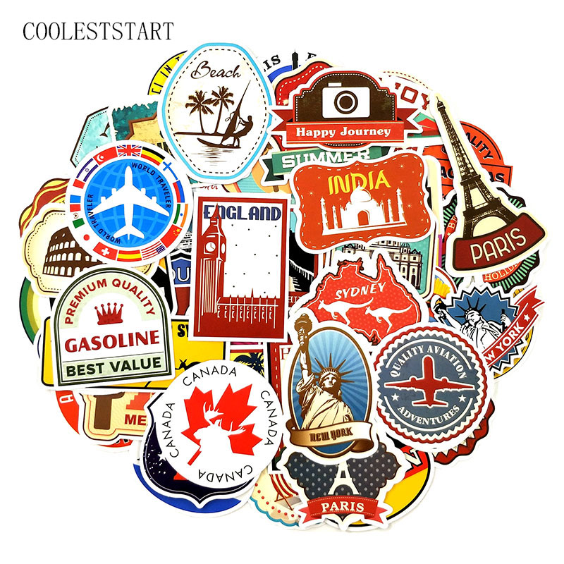100Pcs/Pack Travel World Famous Building Graffiti Stickers For Laptop Refrigerator Motorcycle Suitcase Skateboards Sticker