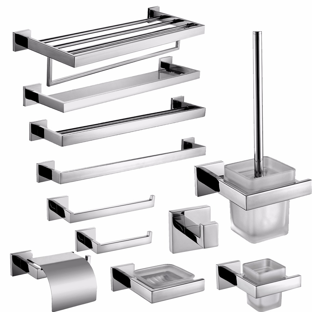SUS 304 Stainless Steel <font><b>Bathroom</b></font> Accessories Set Robe Hook Towel Bar And Mirror Polished Toilet Paper Holder Clothes