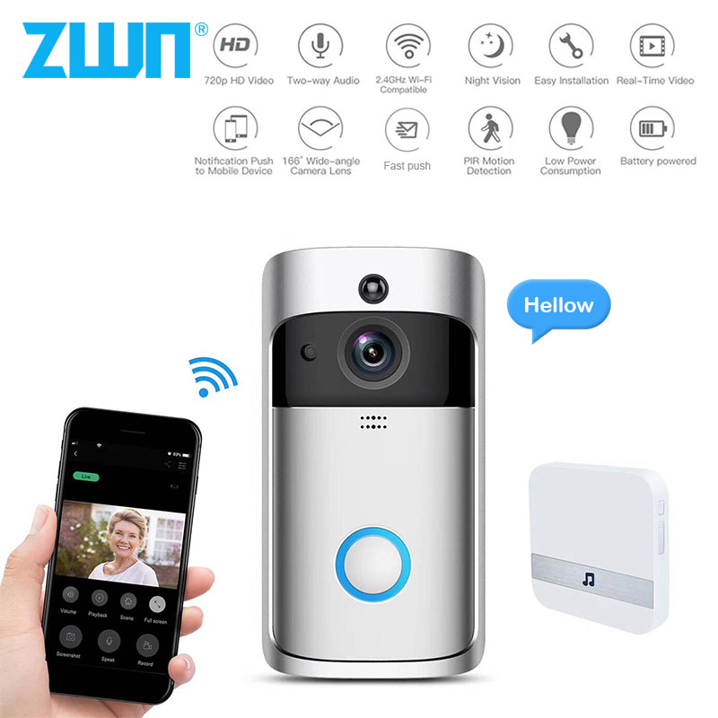 ZWN Smart Wireless Wifi Video Doorbell Intercom 720P Phone Call Door Bell Camera Infrared Remote Record Home Security Monitoring Платье