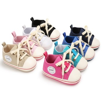 Newborn Baby Shoes 2018 Infant first walkers Tollder Canvas Shoes Lace-up Baby Girls Sneaker Prewalker 0-18M 1