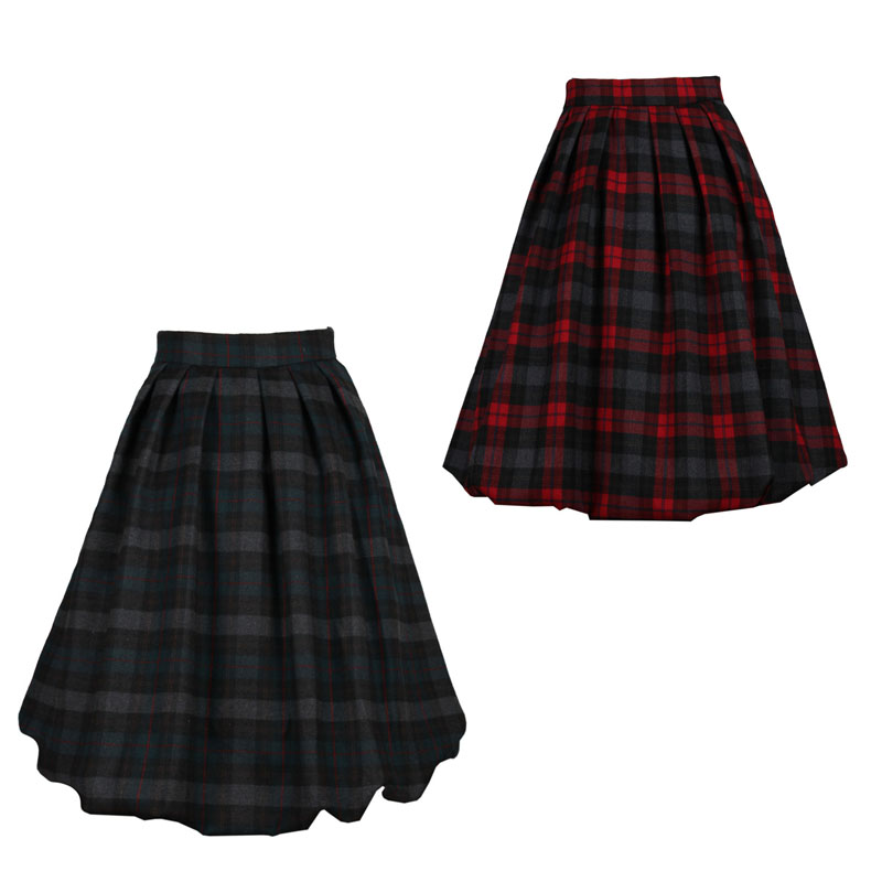 0059 1950s Retro Rockabilly Spring Autumn Winter Women s plaid Woolen Pleated Full lined Expansion font