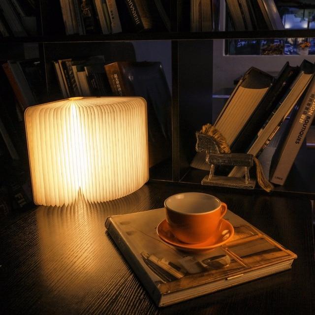 Wand Pack Buch Lampe Holz Nachtlicht Warmes Licht Magische Usb Wiederaufladbare Led Tragbare