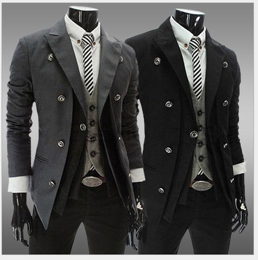MEN BLAZER SUITS JACKETS COAT LAPEL NECK DOUBLE BREASTED FALSE TWO Adorable Blazer Pattern