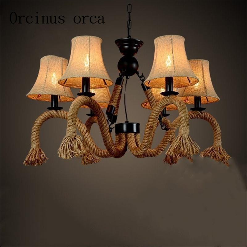 American Country Vintage Linen Rope Chandelier Shade Cafe Bar Room Mediterranean Creative Chandelier Free Shipping