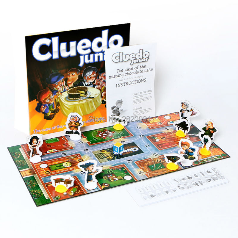 Divertente gioco cluedo junior partito family game per 2-6 giocatori, che ha mangiato la torta al cioccolato detective di puzzle gioco, del capretto giocattolo della novità