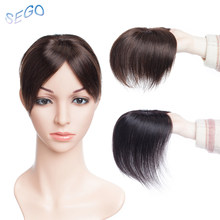 SEGO 6 Inches 7*8 Mono and PU Straight Hair Topper Toupee For Women Pure Color Hair Pieces With 2 Clip-in Non-Remy Hair Pieces(China)