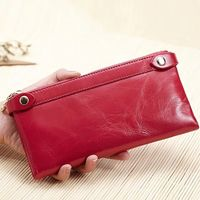 Zolanc Genuine Leather Long Double Zipper The First Layer Of Wax Leather Woman Retro Wallet Card