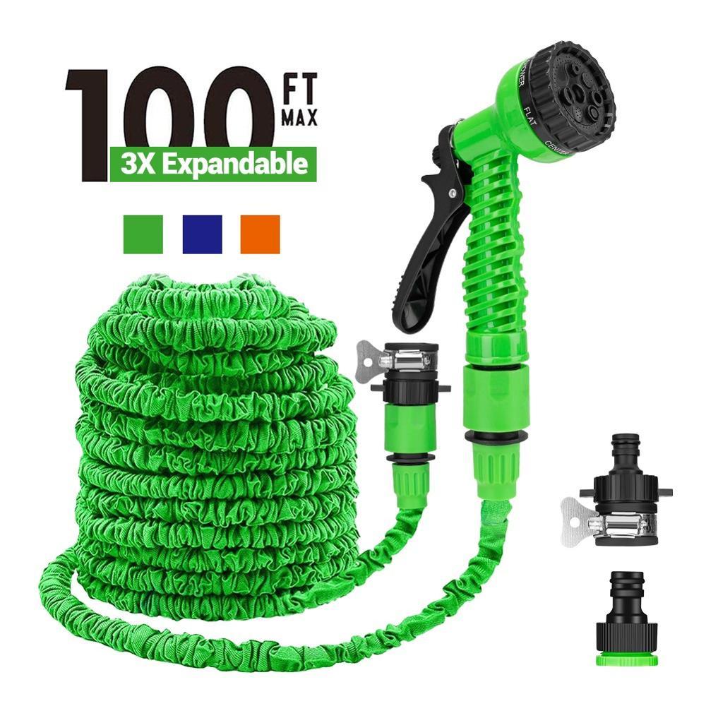 25/50/75/100FT Expandable Garden Hose Magic Flexible Water Hose With Garden Pipe 7 Spraying Modes Spray Gun To Watering Car Wash