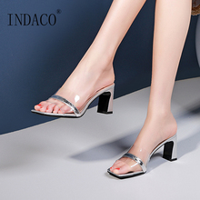 Women Summer Shoes 2019 Fashion Slides Thick Heel Shoes Open Toe Sexy Slippers Transparent vtota slippers women fashion open toes women summer shoes heel shoes women slides platform wedges shoes female slippers g63