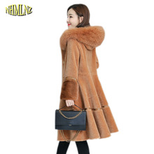Зимнее меховое пальто, новая мода, Женское пальто с капюшоном, длинное пальто, толстое теплое меховое пальто Abrigo, повседневное, размер, офисное Женское пальто, OK230