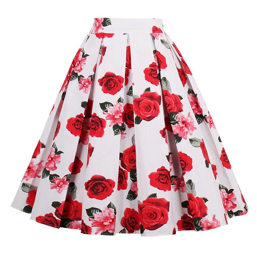 2018 Women Print Pleated Skirts faldas Mujer Ladies Fashion Flamingo Streetwear Mid-Calf Honeybee Swan Apple Print