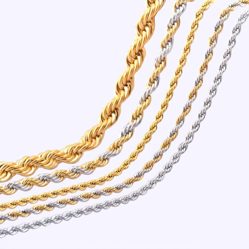 2.3/4/6mm*45-66cm Vintage stainless steel Rope chain necklace jewelry for men and women mixed gold and silver plated colors