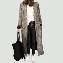 2019 Fashion Spring Winter Women Cashmere Blends Plaid Cocoon Coat Femal Warm Thick Long Loose Fashionable Outerwear Coats woman(China)