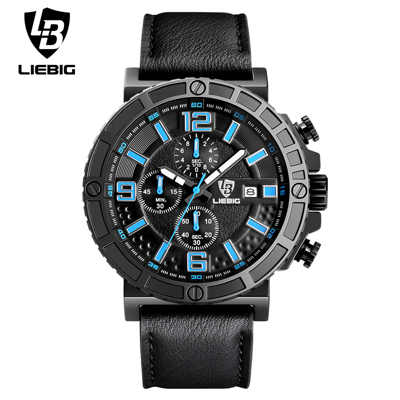 ФОТО LIEBIG 1016 Men Quartz Watches 50M Waterproof Calendar Outdoor Sports Wristwatches Leather Strap Fashion Clock Relogio Masculino