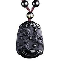 Choi Obsidian Tiger Tiger mascot Pendant Light  chicken dog town people to morifuku Obsidian Pendant diy real stone Obsidian  je