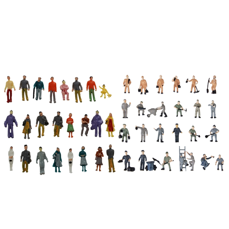 24 Pcs Colorful Painted Sand Table Model Railway Passenger Figures Scale (1 To 87) & 25pcs 1:87 Figurines Painted Figures Mini