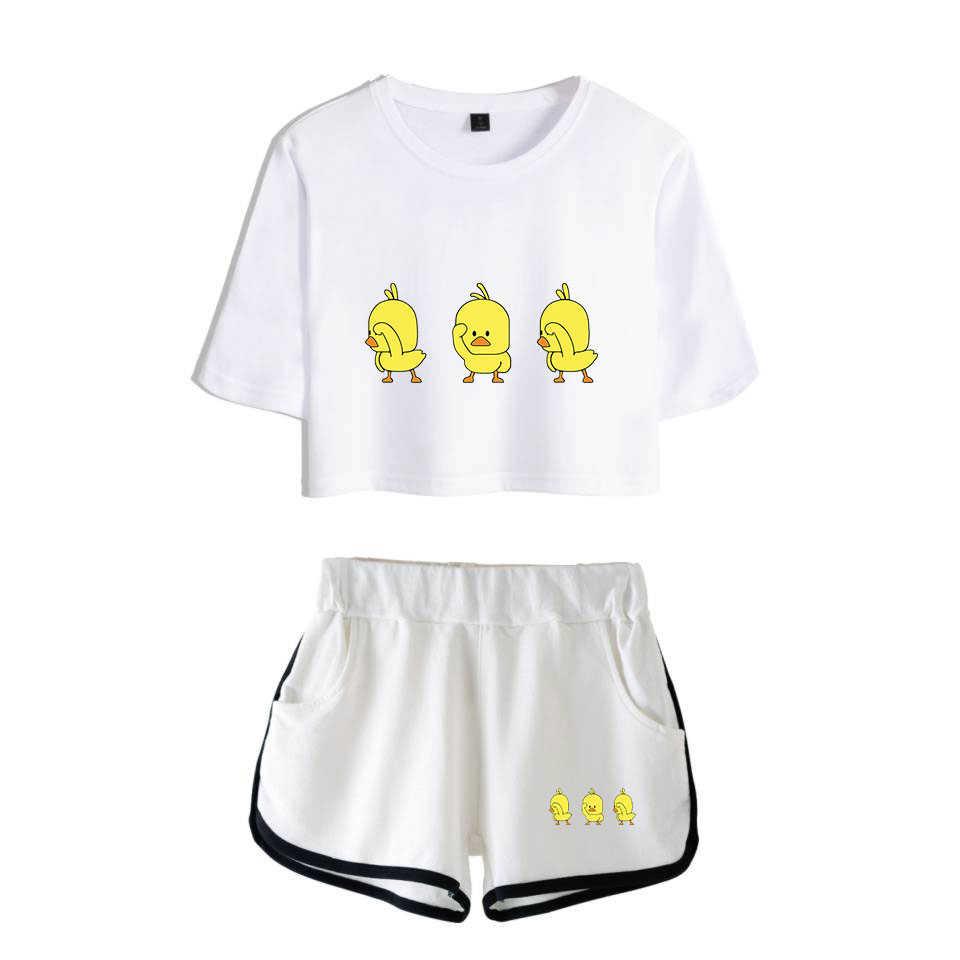 כושר בגדי אופנה Socidl ברווזים פופ הדפסת מכנסיים קצרים טי נשים שתי חתיכה סטי יבול למעלה מזדמן בגדים