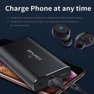 Image 4 - AWEI TWS prawdziwe bezprzewodowe wkładki douszne Bluetooth 5.0 1800mAh Power bank Mini 3D słuchawki Bluetooth słuchawki z podwójnym mikrofon do telefonu