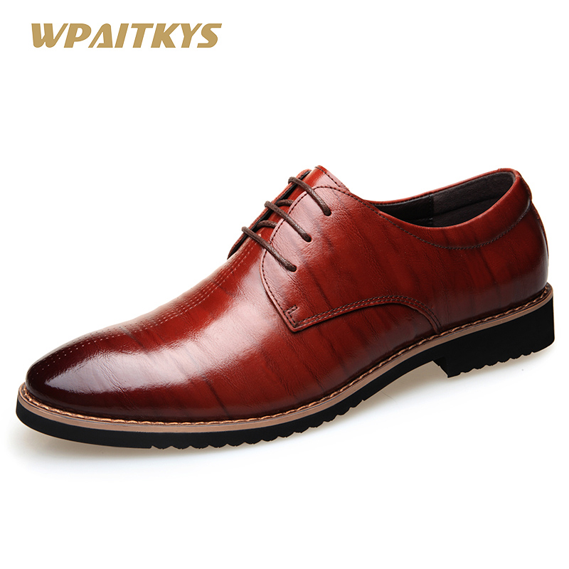 2018 New Black Wine Red Mature Men's Shoes Dress British Youth - Men's Shoes - Photo 1