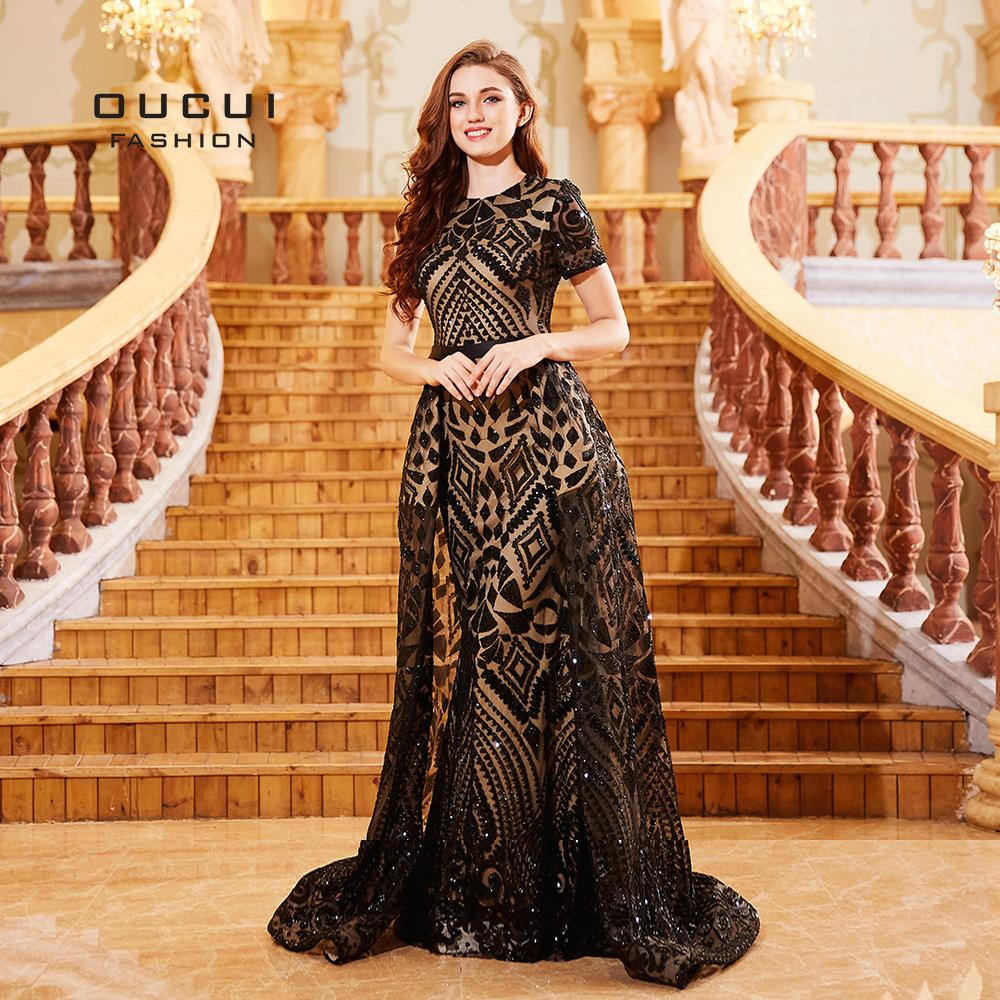 O Neck Short Sleeves Muslim Evening Dress Black Prom Party Gowns Sequined Bodycon Mermaid Dresses Robe