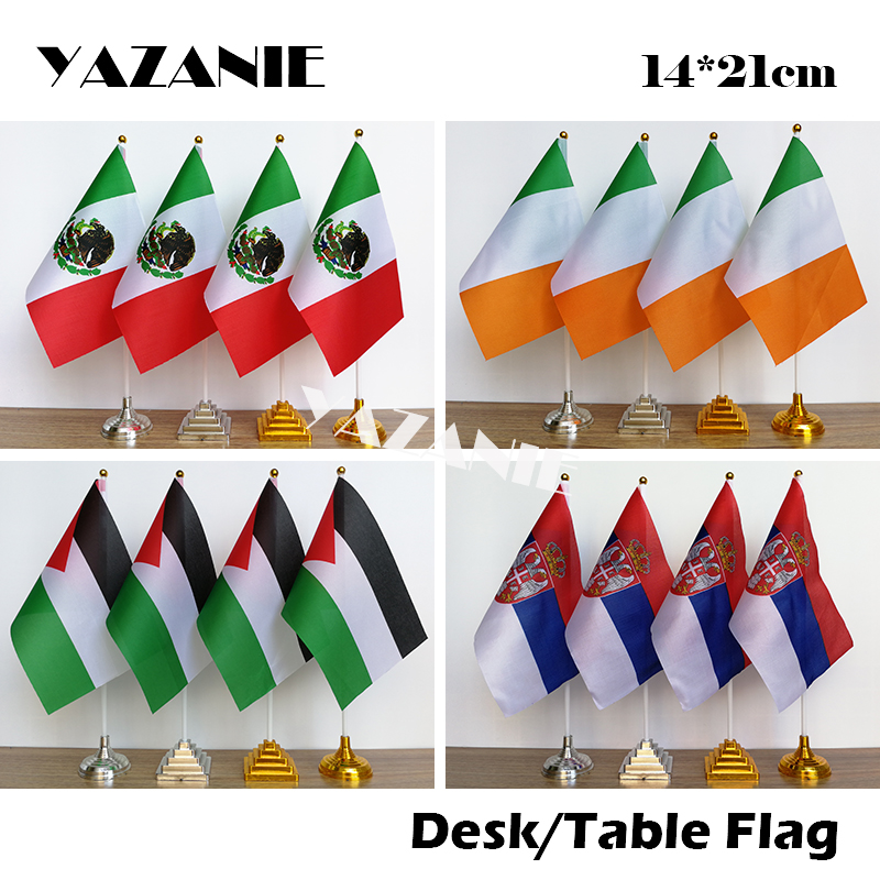 Italy with Ireland Deluxe Double Table Flag Plastic Polyester Gold Base
