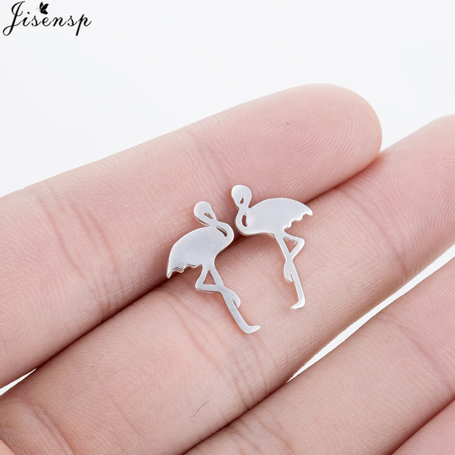 Jisensp Free Shipping Fashion Earrings Jewelry Vivid Flamingo Stud Earrings for Women Gift Geometric Animal Earrings bijoux aros