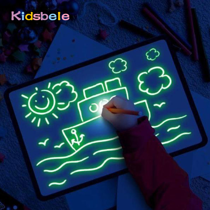 Big Size Illuminate Drawing Board Light In Dark Children Kids Paint Toy DIY Educaitonal 2019 Boy Girl Toys