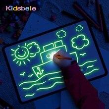 Tamanho grande iluminam a placa de desenho de luz no escuro crianças pintura brinquedo diy educaitonal 2020 crianças brinquedos desenhar com luz