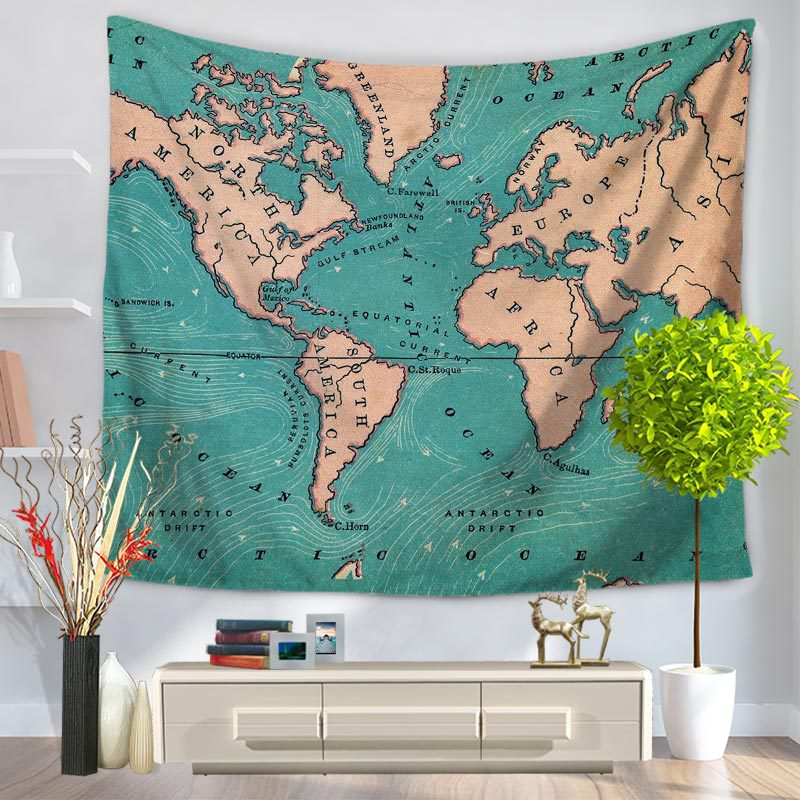Charmhome world map pattern tapestry hanging polyester fabric wall charmhome world map pattern tapestry hanging polyester fabric wall decor vintage retro style blanket beach toweltapestries in tapestry from home garden on gumiabroncs Images