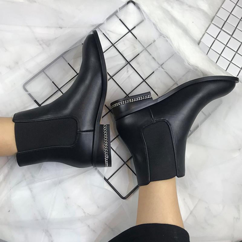 2018 New Fashion European Style Black Ankle Boots Flats Round Toe Back Zip Martin Boots PU Leather Woman Shoes Zapatos de Mujer vtota fashion european style black ankle boots zip martin boots platform pu leather woman shoes with warm plush winter boots j19